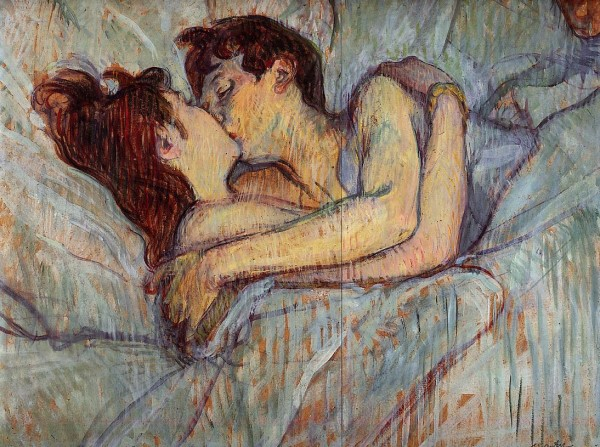 Painting by Henri de Toulouse-Lautrec. Dans le lit, le baiser. In bed, the kiss. 1892