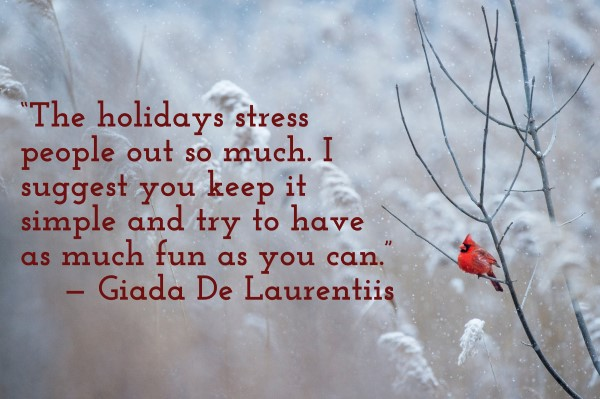 'The holidays stress people out so much. I suggest you keep it simple and try to have as much fun as you can.' — Giada De Laurentiis