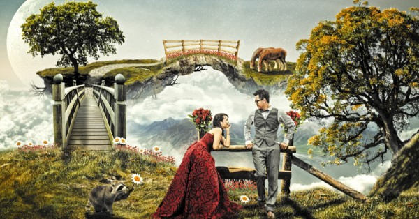 Couple in a magic landscape.